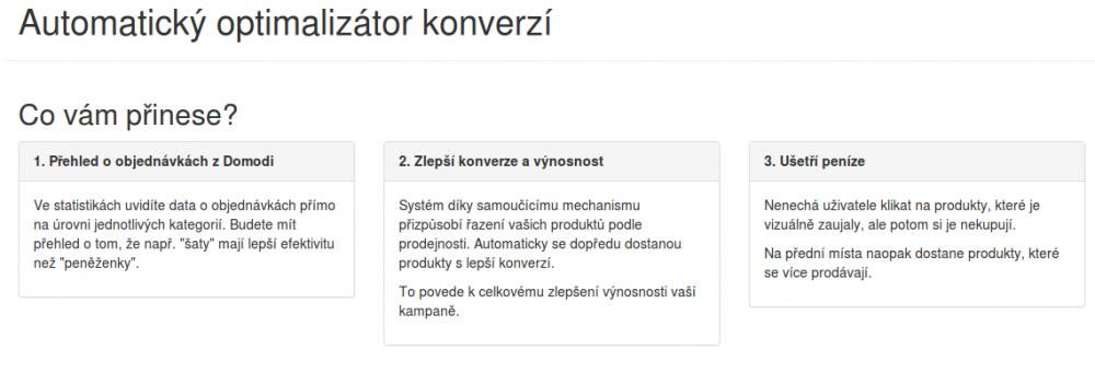 Automatický optimalizátor konverzí