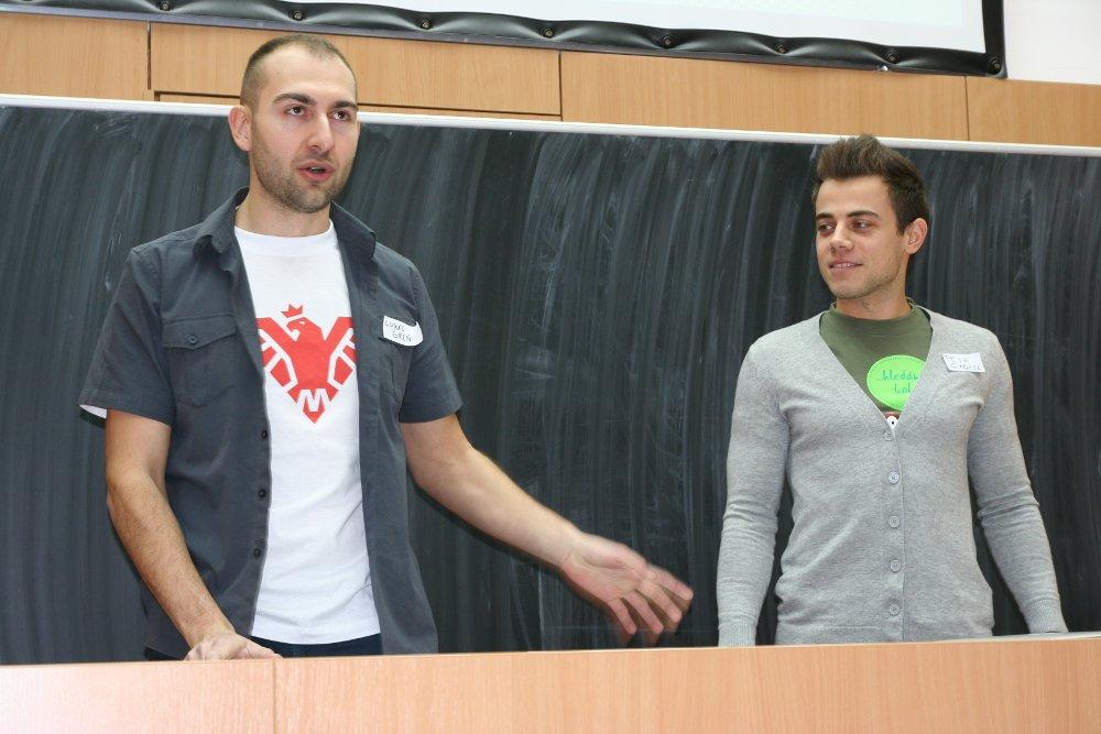 Lukáš a Petr, hlavní pořadatelé ostravského Barcampu 2012