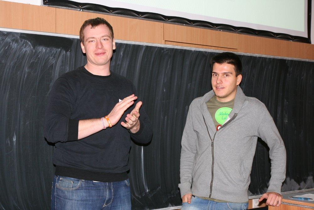 Jindra a Lukáš před přednáškou o Facebooku