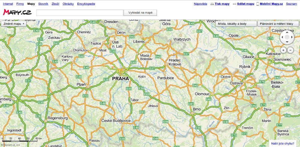 Mapy.cz - základní pohled