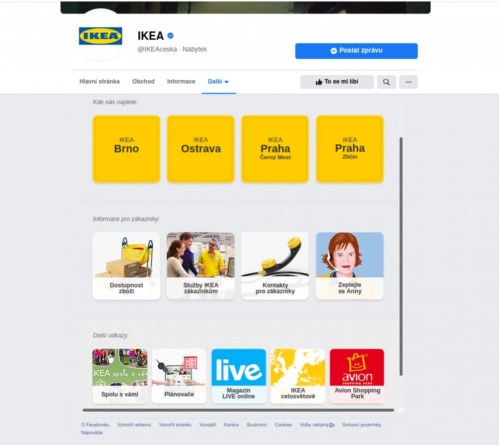 Záložka Rozcestník na stránce IKEA CZ