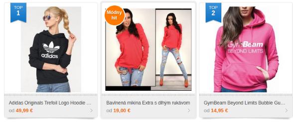 Heureka ProductADS v sekcii móda