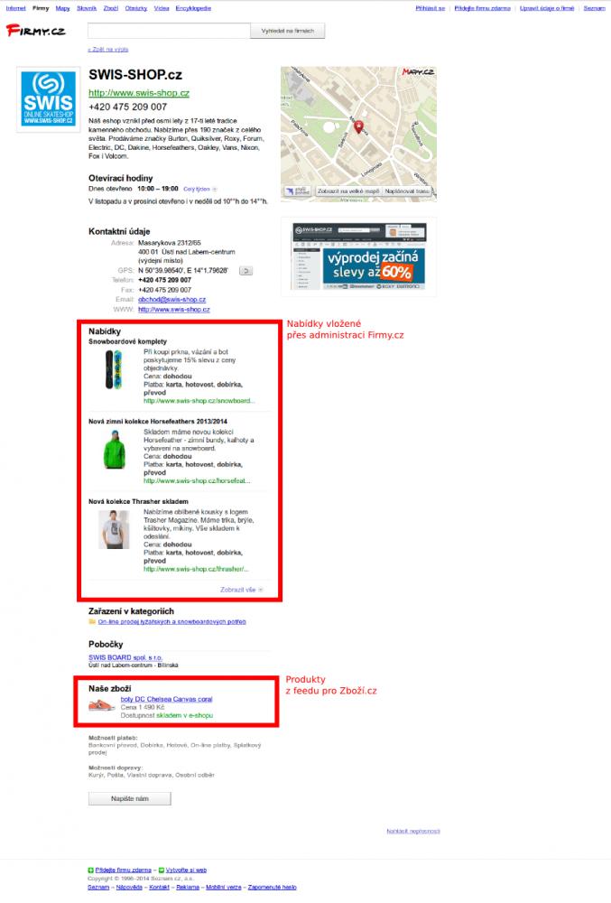 Ukázka nabídek z administrace a zboží z XML feedu pro Zboží.cz v profilu firmy.