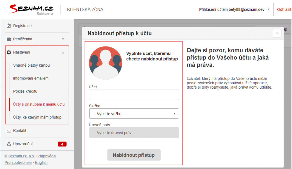 Nově můžete ve Zboží.cz přidělovat uživatelům různá práva