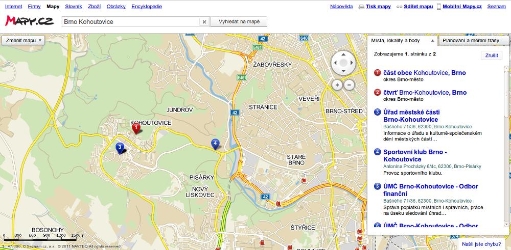 Mapy.cz - Vyhledání města, městské části nebo ulice