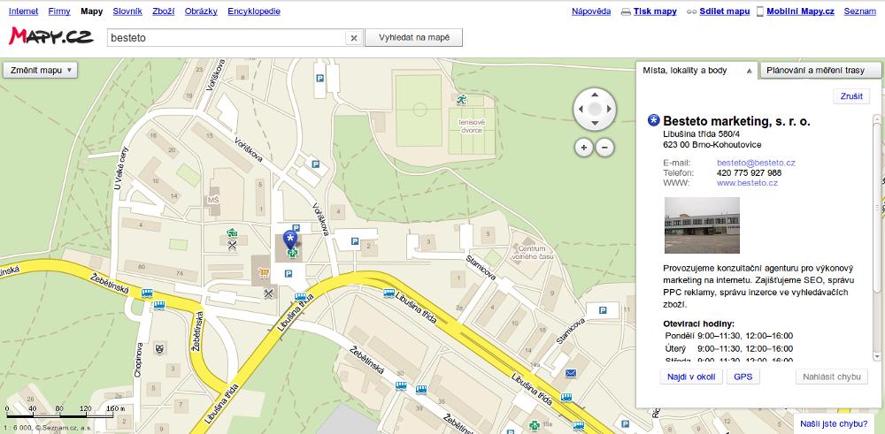 Mapy.cz - vyhledání firmy