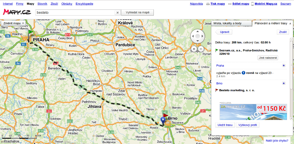 Mapy.cz - vyhledání trasy